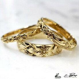 ハワイアンジュエリーリング 本格 手彫り 選べる素材 K10 K18 ゴールド プラチナ SILVER925 ダイアモンド 誕生石 メンズ レディース ペアリングも最適 lfp024