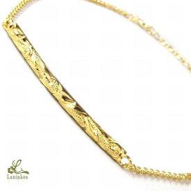 ハワイアンジュエリー ブレスレット Laniakea バー ブレスレット プレート バングル K18 ゴールドコーティング SILVER925 メンズ レディース ペア も最適 lfp019