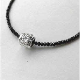 ブラックスピネル ネックレス「ハワイアンジュエリー(宝石質スピネル)jyu024」スピネルTOP プルメリア バレル Silver925 セッティング