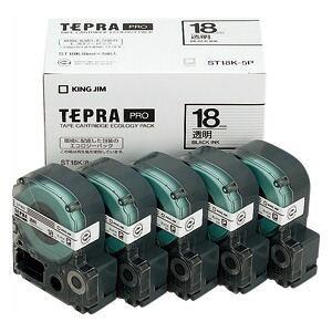 キングジム 「テプラ」PROテープ テープカートリッジ 透明ラベル/黒文字(5個パック)ST18K-5P【4168812】
