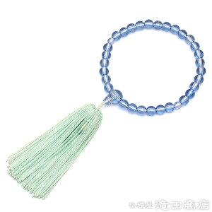 子供用数珠(お子様念珠) ガラス製サファイア 輪の内径約7cm 【お盆 こども用 キッズ用 ジュニア用 小児用 法事 葬式 葬儀】