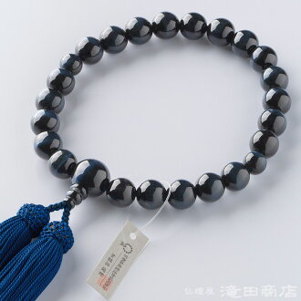 ◆ blue tiger's eye 22 ball pure silk fabrics hair style bunch ◆ brand Kyoto string of beads for the beads man