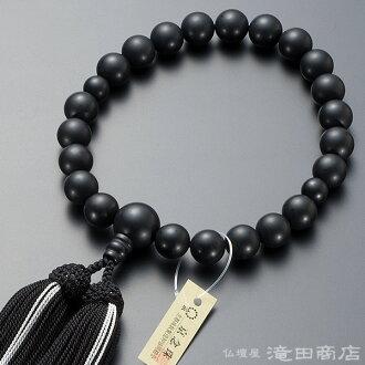 供念珠男性使用的黑縞瑪瑙(除去光澤)22硬幣純絲發型構架名牌京都念珠