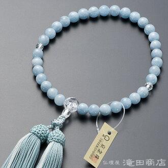 供念珠女性使用的藍綠色cut本水晶縫製8mm硬幣純絲發型構架名牌京都念珠
