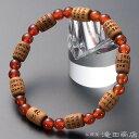 【特選腕輪念珠】 数珠 ブレスレット 般若心経彫り 俵型 インド白檀 瑪瑙(メノウ) 【送料無料】【数珠ブレスレット …