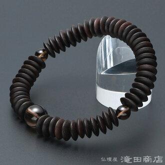 树球呼吸条纹乌木(除去光泽)水果圆片茶水晶缝制54硬币◆念珠手镯