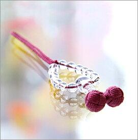 【天然石 携帯ストラップ】 水晶丸玉 ローズ【楽ギフ_包装選択】
