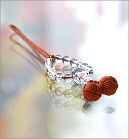 【天然石 携帯ストラップ】 水晶丸玉 橙【楽ギフ_包装選択】