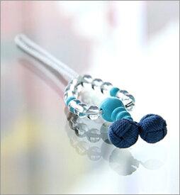 【天然石】【 携帯ストラップ】【京都 数珠】水晶丸玉 トルコ石【楽ギフ_包装選択】