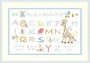 """出産祝いに♪【ル ボヌール デ ダム】 刺繍キット 1076 Abcdaire """"Enfant - Alexandre"""" キリンのソフィー・サンプラー(男の子) 【あす楽】【HLS_DU】"""