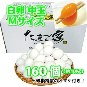 白卵 160個以上 Mサイズ 中玉 約10Kg 送料無料 鶏卵 若鶏卵 お得 九州産 生食用 お中元 お歳暮 破損補償入り