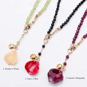 アフターSALE!back petal necklace (group3) 天然石 ネックレス 花びら バラ