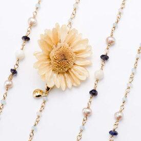 期間限定 ポイント5倍【送料無料】 sunflowerpuma necklace (white) 本物の花 ネックレス サンフラワー