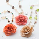 blooming rose middle necklace 天然石 ネックレス 本物の花 バラ