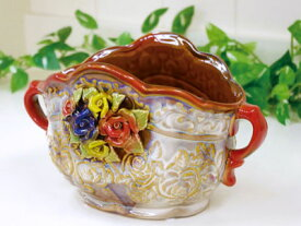 【送料無料】 セラミック 陶器製 幅24cm ベイス 花瓶 プランター ヴェイス 花瓶 陶器 生け花 Vase 花入れ プランター おしゃれ