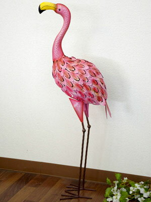 再入荷しました!インテリア フラミンゴ 雑貨 置物☆ 玄関にも 動物 ガーデン オブジェ 庭 雑貨 ガーデニング インテリア アニマル 可愛い動物 アジアン エスニック雑貨 アーティフィシャルバード ブリキ 鳥オブジェ Flamingo 鳥飾り オーナメント 風水・インテリア