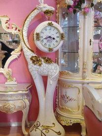 ロココ キリン フロアー 時計【送料無料】無音・音がしないので寝室にもOK☆【開梱・設置サービス付き】です。おしゃれ 時計 掛け時計 ゴールド 薔薇雑貨 おしゃれ プリンセス ロココ【ギフト】結婚 新築 お祝い スタンド 風水 両面時計 置き時計 クロック