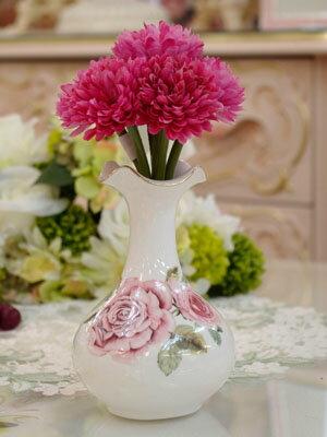 薔薇の一輪挿し 花瓶 陶器 白 ホワイト花びん生花や造花と合わせて可愛いフラワーポット お花を活けてなくても可愛い 花瓶 フラワーベース プレゼント ギフト おしゃれ アンティーク雑貨 インテリアグリーン ラッピング可能