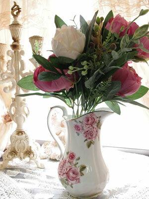 薔薇 ピッチャー 水差し 大きな花瓶 【送料無料】陶器 白 ホワイト花びん 生花や造花と合わせて可愛いフラワーポット お花を活けてなくても可愛い フラワーベース プレゼント ギフト おしゃれ インテリアグリーン ラッピング可能