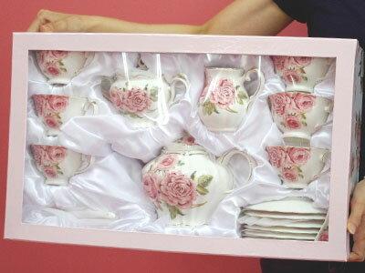 写真のものが全部付いて♪薔薇ティータイムデラックスセット♪来客用 パーティー プレゼント ロココ ティータイム ティーセット パーティー プリンセス ローズ 薔薇 テーブル おしゃれ 可愛い 来客用 プレゼント ウェディング お祝い 6人用 ファミリーセット