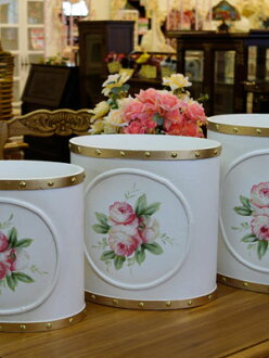 White Rose design with trash bin large, medium, small 3-piece set Gold line in gorgeous even!