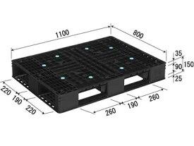 【メーカー直送】 法人様限定 D4-811-3 サンコー プラスチックパレット 三甲 ブラック (プラパレ)
