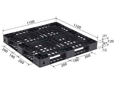 【メーカー直送】 D4-1111-14 サンコー プラスチックパレット 三甲 ブラック (812300) (プラパレ)