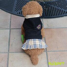 エンブレムチェックスカートワンピース/ブラック(XS-XLサイズ)【ルイスペット】【メール便送料無料】【犬 服 犬の服 ドッグウェア】 《》【RCP】