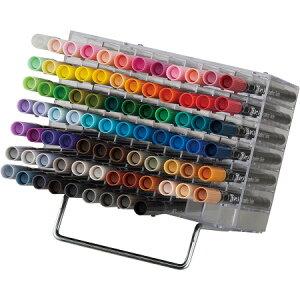 呉竹 マーカーペン ZIG アート&グラフィックツイン 80色+ブレンダー (TUT-80/81V) デスクトップスタンド サインペン 筆ペン ART&GRAPHIC TWIN