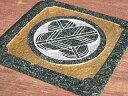 【送料無料】家紋プレートインド産深緑系御影石M1−H着色仕上げ【楽ギフ_名入れ】