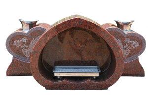 【限定1個♪】お墓のリフォーム!墓石用香炉・花立セットインド産赤御影【送料無料】