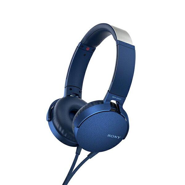 重低音 ヘッドホン SONY ソニー MDR-XB550AP L ブルー スマホ対応 リモコン マイク付き ハンズフリー 密閉型 ヘッドフォン