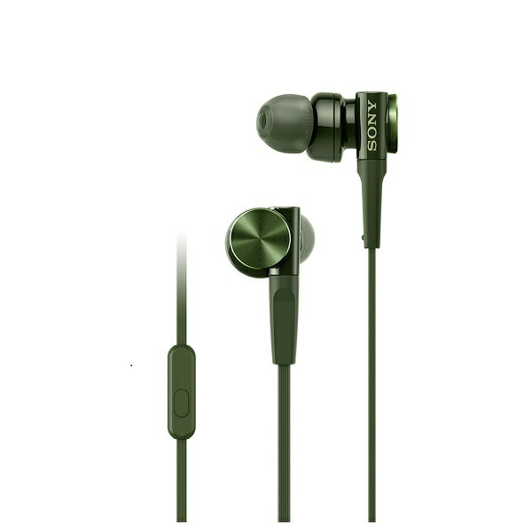重低音 イヤホン SONY ソニー MDR-XB75AP G グリーン スマホ対応 リモコン マイク付き カナル型 イヤフォン