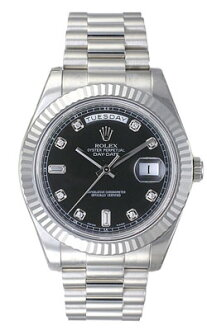 Rolex D date II 218,239A black 10P diamond