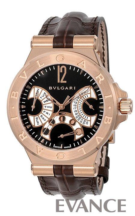 ブルガリ ディアゴノ フェイズ ドゥ リューン DGP42BGLDMP/N ブラック メンズ BVLGARI 【新品】【腕時計】