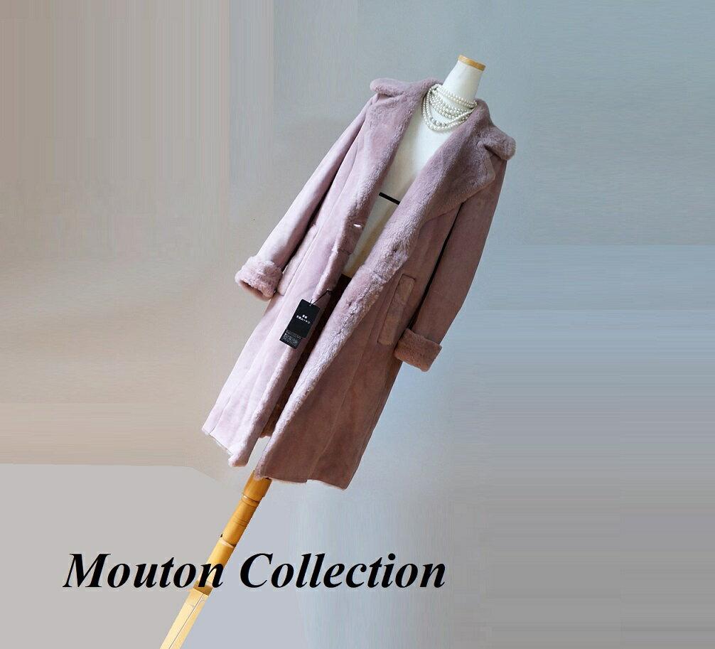 新品処分ムートンコート レディース ラム羊革北欧ピンク系☆チンチラ・カルガンラム・ドルガバ・セーブル・トスカーナムートン・毛皮お好きな方に