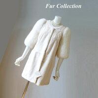ミンク襟レディースムートンコート・毛皮ショール・ファーストール・フォックスケープ・トスカーナムートンジャケット・毛皮お好きな方に