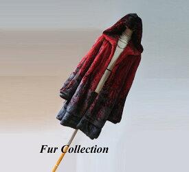 素敵なフード付きミンクコート新品1点物処分赤と黒レッド×ブラック☆チンチラケープ・セーブルマフラー・ファー・ミンクコートシャネル プラダ ロエベ エルメス マルニコート・毛皮コートお好きな方に