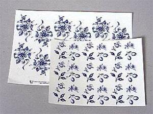 陶芸/デザイン転写紙セット 花 青柄 約17ピース