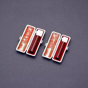 印鑑 セット 2本/実印 銀行印 セット/高級エンボスオーストリッチケースx2個付/印鑑セット-L/アグニ/16.5mm13.5mm/印鑑10年保証付/印鑑プレビュー無料/印影デザイナーの美しい印影の手仕上げのご