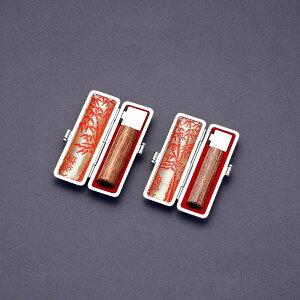 印鑑 セット 2本/実印 銀行印 セット/高級印伝ケースx2個付/印鑑セット-SS/彩樺/13.5mm12mm/印鑑10年保証付/印鑑プレビュー無料/トップクラスの匠-大周先生の美しい印影を匠の技で彫る超高級印鑑