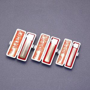 印鑑 セット 3本/実印 銀行印 認印 セット/高級印伝ケースx3個付/印鑑セット-S/オランダ水牛純白・牛角白(高級芯持)/15mm12mm10.5mm/印鑑10年保証付/印鑑プレビュー無料/トップクラスの匠-大周先生