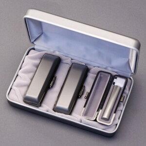 印鑑 セット 3本/実印 銀行印 認印 セット/高級エレガントケースx3個付+印鑑箱x1個付/印鑑セット-S/シルバーブラストチタン/15mm12mm10.5mm/印鑑10年保証付/印鑑プレビュー無料/トップクラスの匠-