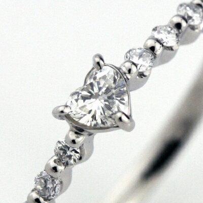 婚約指輪 (鑑定書付) プラチナ ハート ダイヤモンド リング 0.1ctアップ SIクラス Hカラーアップ (納期約10営業日) エンゲージリング 【送料無料】