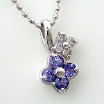 K10WG(10金ホワイトゴールド)タンザナイト(12月の誕生石)ダイヤモンドネックレス
