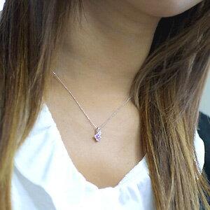 K10ホワイトゴールドピンクサファイヤダイヤフラワーネックレス