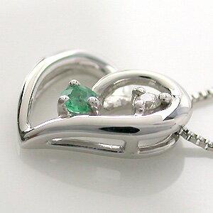 K10WG(10金ホワイトゴールド)エメラルド(5月の誕生石)ダイヤモンドネックレス