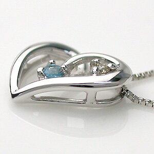 K10WG(10金ホワイトゴールド)ブルートパーズ(11月の誕生石)ダイヤモンドネックレス