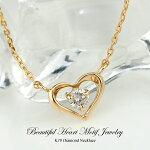 ダイヤモンドネックレスK10(10金)4月の誕生石オープンハート