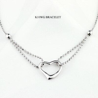 K10WG(10金ホワイトゴールド)ブレスレット即納可【送料無料】レディースブレスレット絆誕生日プレゼント